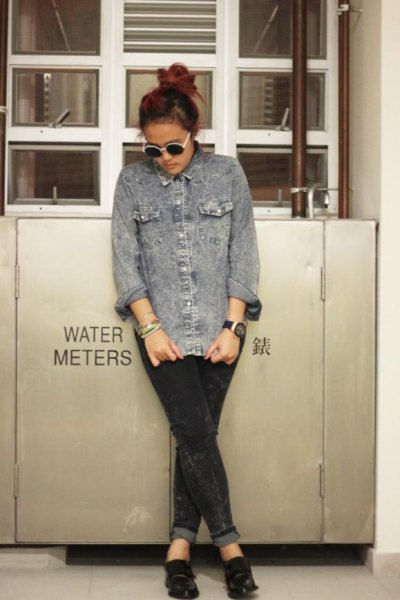 gray denim shirt cuffed black jeans