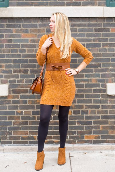 orange suede ankle boots with matching knit dress in knitwear