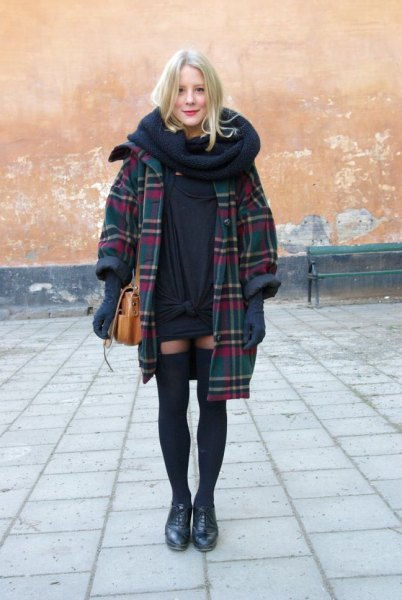 dark blue checked long coat with infinity scarf