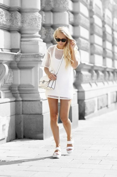 white two layer short sleeve mesh dress