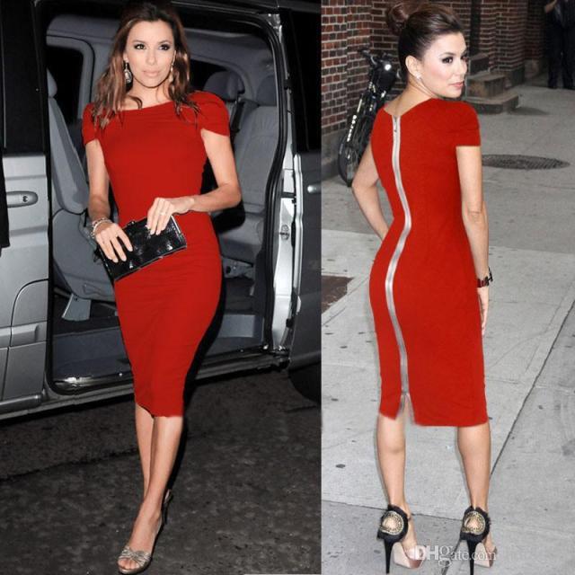 back zipper dress red eva