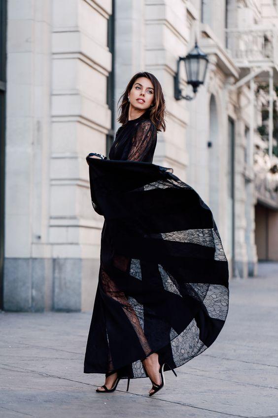 black chiffon dress long lace
