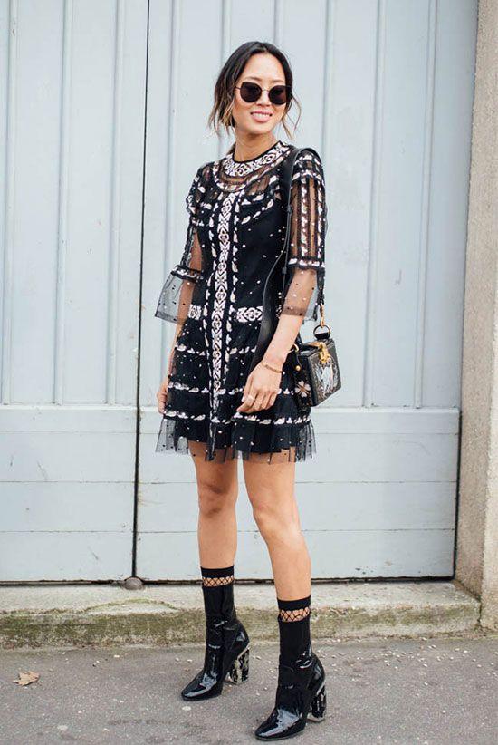 black mesh dress sequined