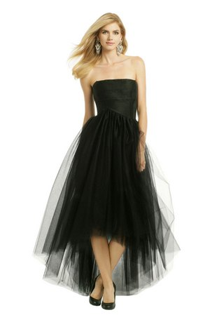 black strapless maxi high dress with low tulle