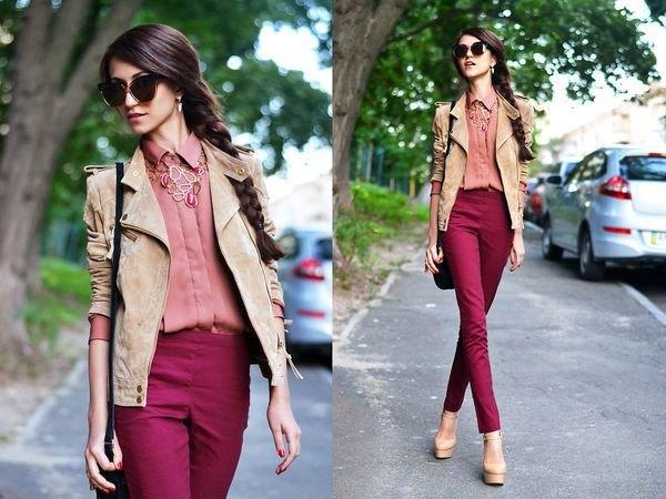 crepe suede blazer burgundy jeans