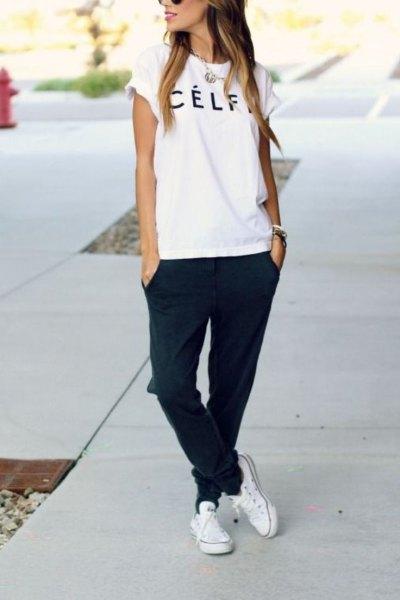 white cloth shoes t-shirt black jogs