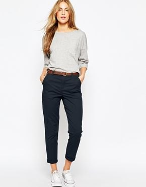 navy chinos gray long sleeve t-shirt outfit