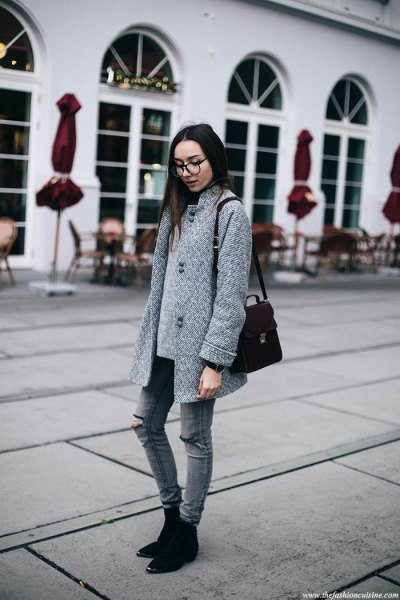 gray cocoon coat with matching ripped skinny jeans and suede shoes