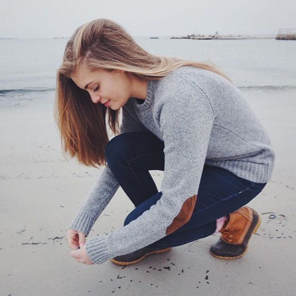 gray elbow patch crew sweater