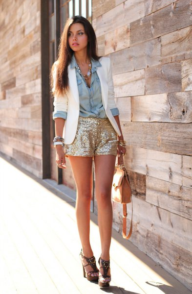gold sequin shorts white blazer chambray shirt