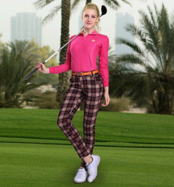 checkered golf pants pink polo shirt
