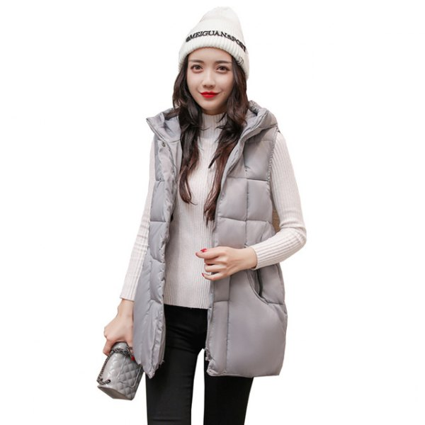 gray hood down vest with white mock neck ribbed sweater