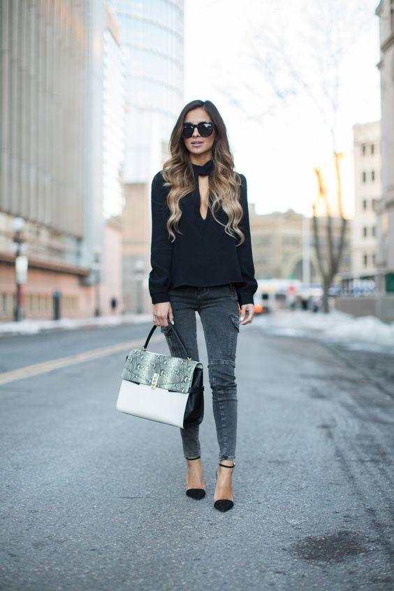 keyhole top black gray jeans