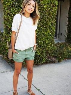 white shirt gray khaki cargo shorts