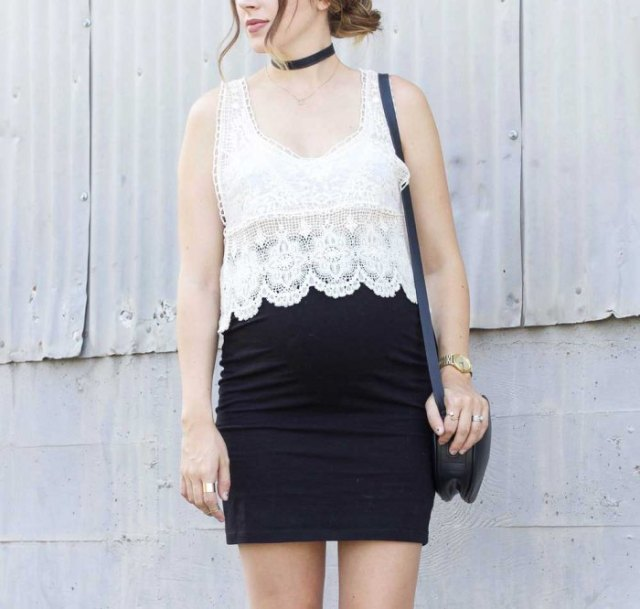 white peeled edge case with black mini bodycon skirt