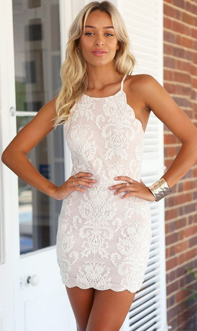 white halter lace dress mini