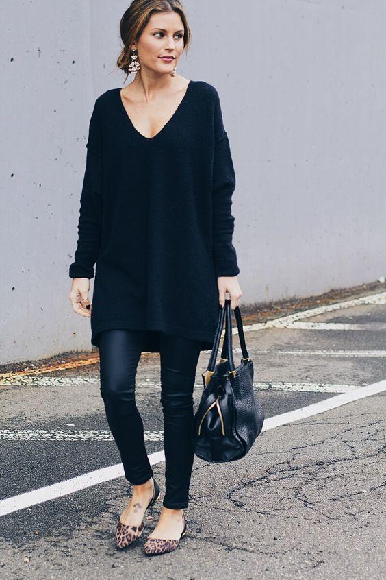 black tunic leggings