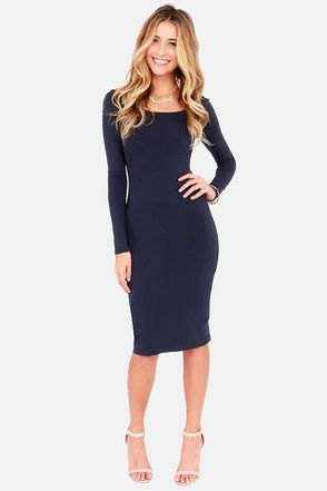navy long-sleeved bodycon midi dress