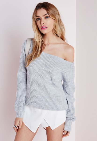 gray off shoulder knit sweater white shirt outfit