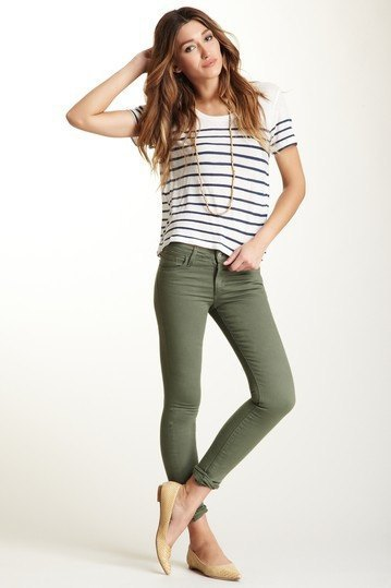 black and white striped t-shirt with olive skinny jeans