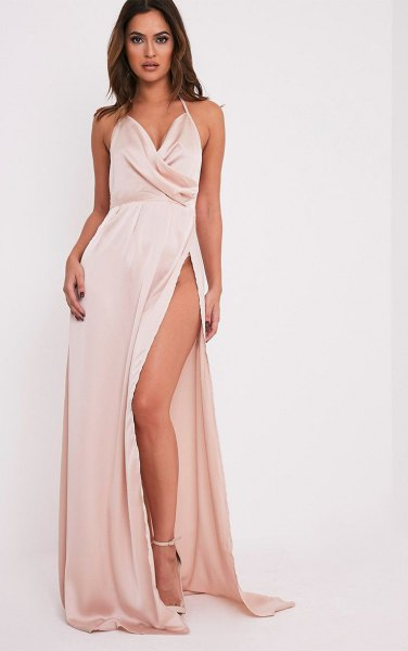 white jump maxi high split silk dress