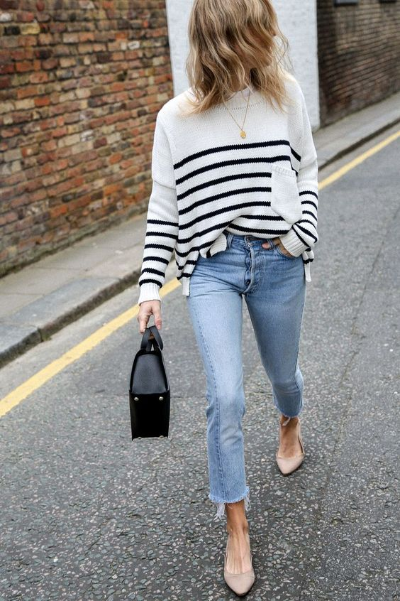 striped sweater with pointed toe