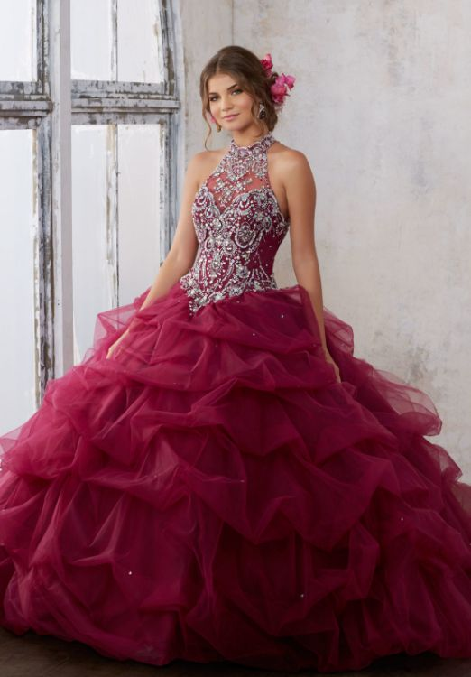 red quinceanera dress crystals