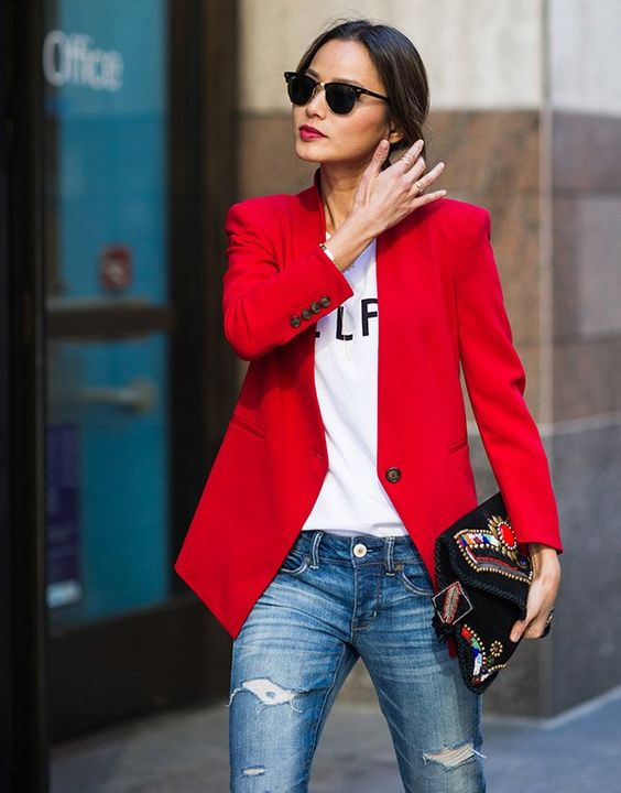 red blazer white shirt jeans
