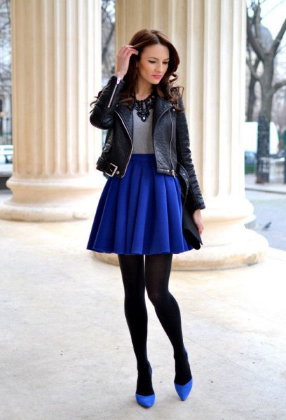 winter royal blue skirt black leather jacket