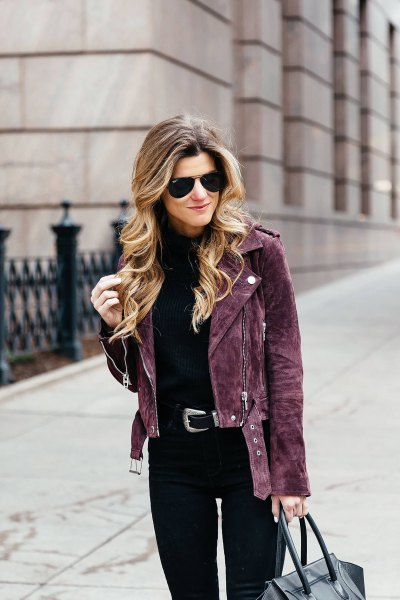 black suede cycling jacket with slim fit jeans in high waist