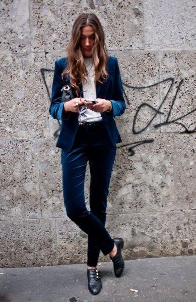 blue velvet blazer costume outfit