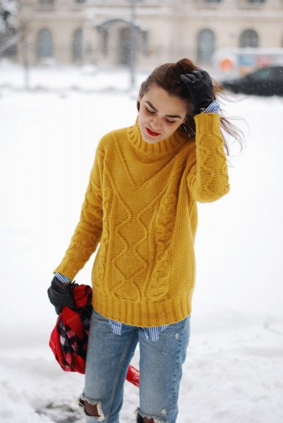 yellow cable knit sweater with hair loss with ripped boyfriends