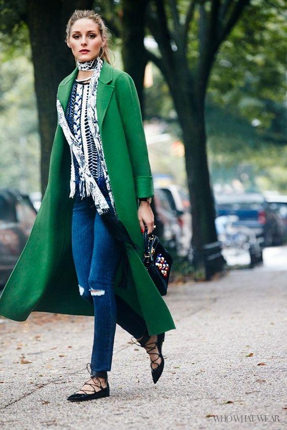 lace flats green coat