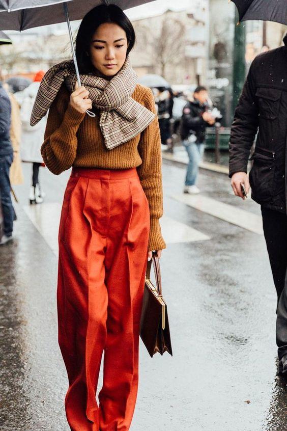orange pants rainy day