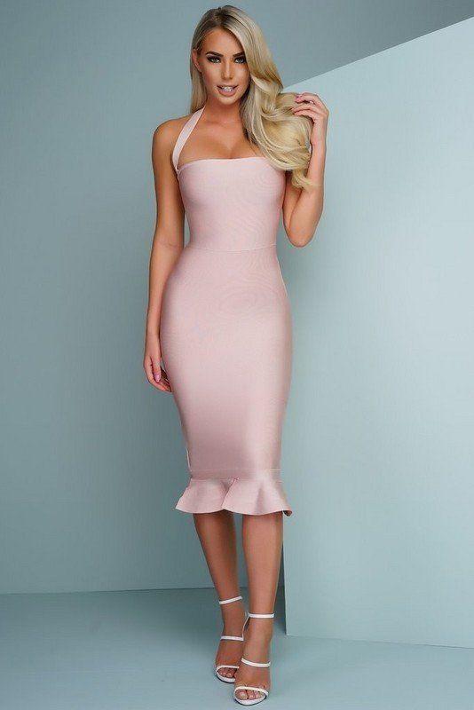 pink bandage dress midi ruffle