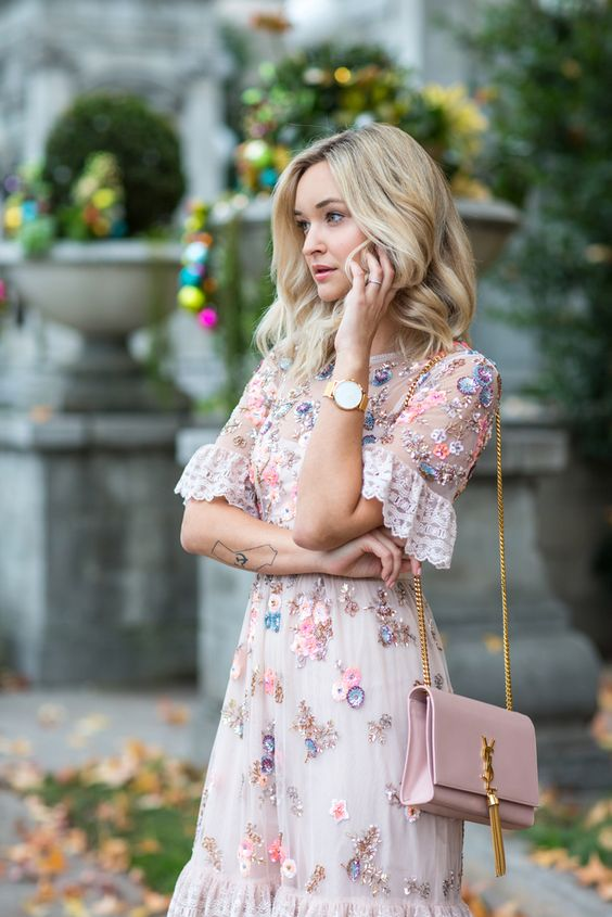 pink gold dress floral embroidery