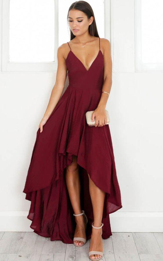 red high low dress v neck