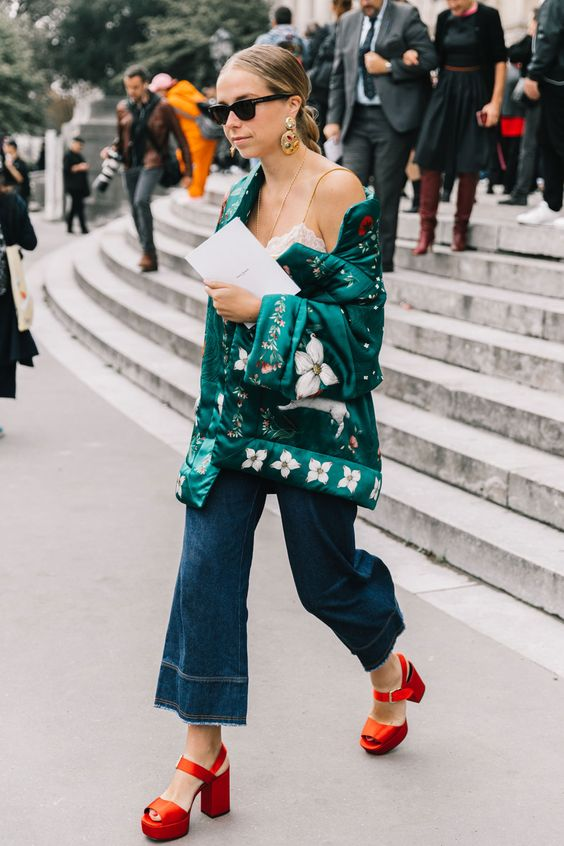 red platform heels street style green jacket
