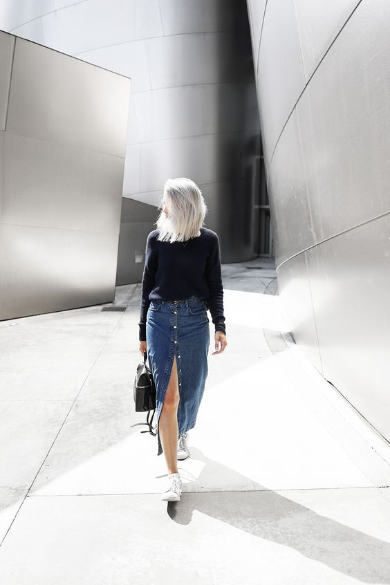 denim midi skirt black sweater