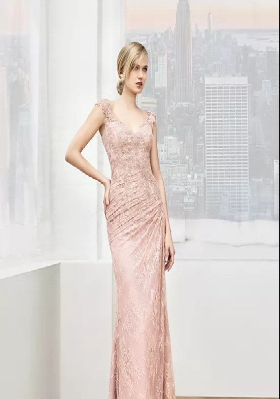 soft pink long wedding dress mother
