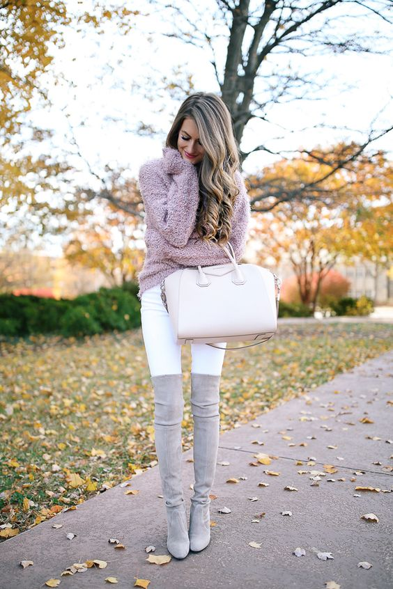 thigh high boots white jeans