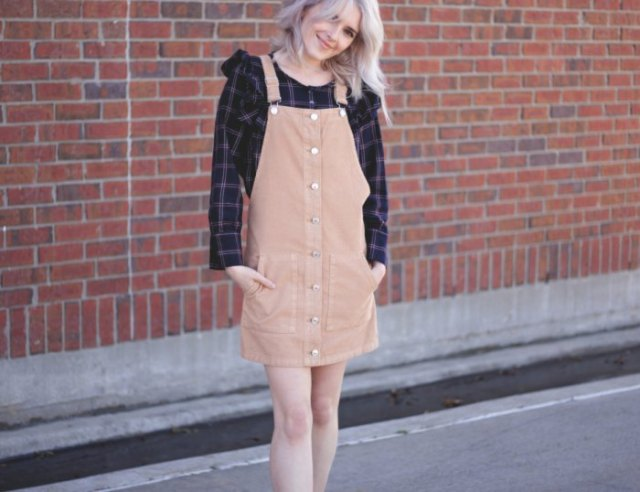 Mini crêpe cord button dress with black boyfriend shirt