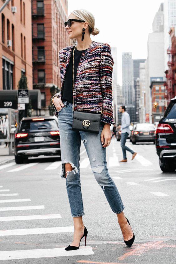 tweed blazer colorful
