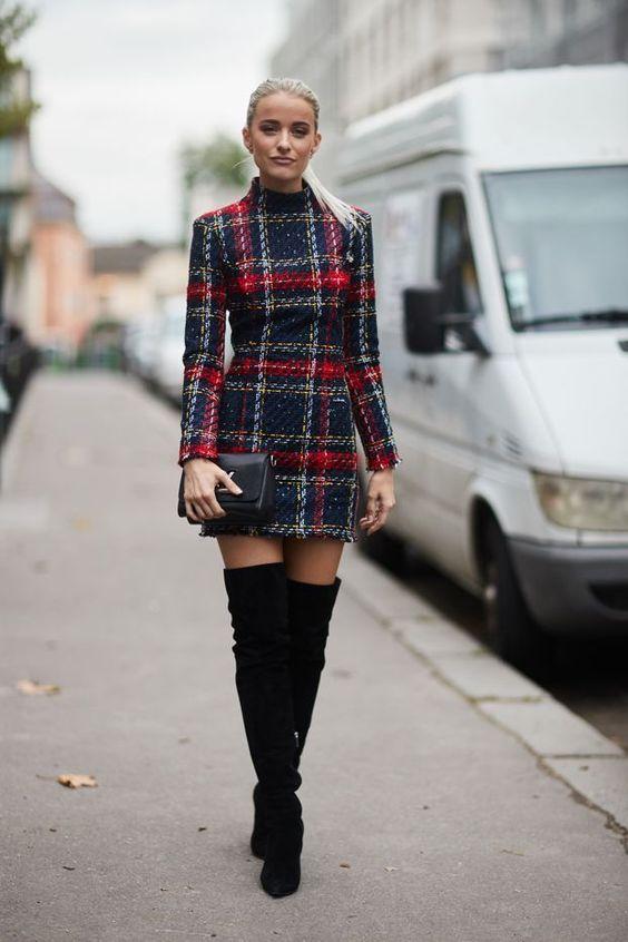 tweed dress thigh high boots
