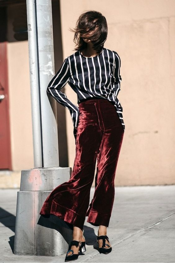 red velvet trousers silk blouse