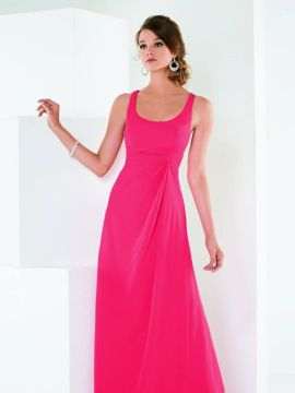 chiffon dress with a scoop in the neck and back in back