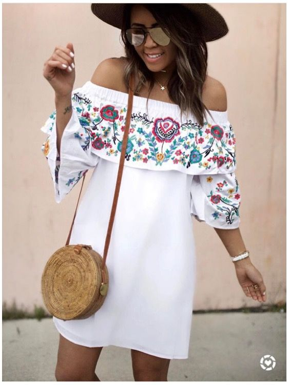 white embroidered dress outside the shoulder