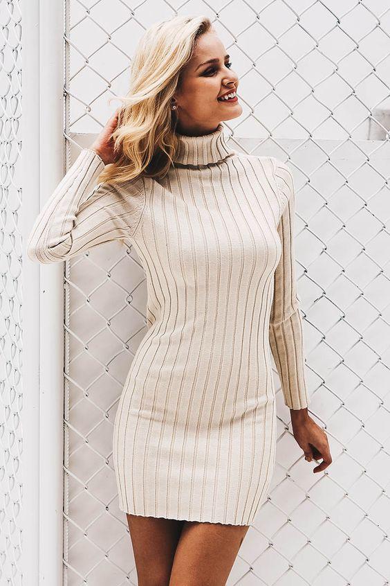 white turtleneck dress knitted
