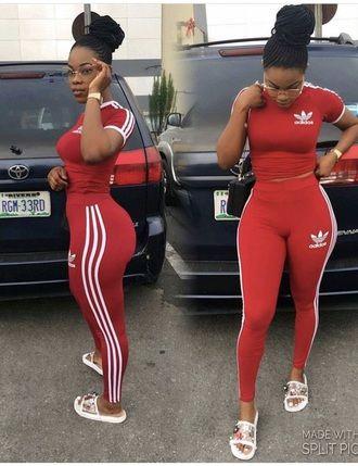 jumpsuit adidas red leggings crop tops addidas pants addias pants .