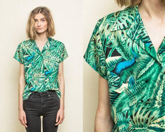 Vintage Topical Aloha Womens Hawaiian Print Shirt Blouse | Aloha .
